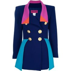 CHRISTIAN LACROIX VINTAGE Colour block suit (2,960 PEN) ❤ liked on Polyvore featuring outerwear, jackets, blazers, coats, tops, blue wool blazer, christian lacroix, blue double breasted jacket, colorblock blazer and color block blazer