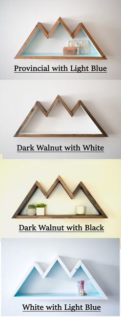Some of the available color combinations for Mountain Shelves from Timber Grove Studios on Etsy!