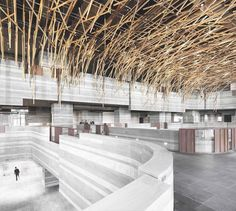 @NeriAndHu animated a Shanghai cultural building with an arched canopy of branches, actually aluminum tubes transfer-printed to mimic oak or walnut. : Dirk Weiblen. @sandow... - Interior Design Ideas, Interior Decor and Designs, Home Design Inspiration, Room Design Ideas, Interior Decorating, Furniture And Accessories