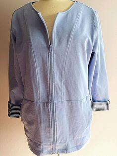 Plus Sweater Jacket Full Zip OX Stretch Blue Cherokee  #Cherokee #FullZip