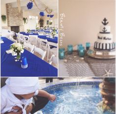 Anchor Themed Baptism! #anchor #navy-blue Boy Baptism, Christening, Anchor, Navy Blue, Party Ideas, Table Decorations, Furniture, Home Decor, Decoration Home