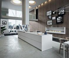 Stunning kitchen fireplace idea for the contemporary home - Decoist Kitchen Furniture, Kitchen Interior, Modern Interior, Home Interior Design, Interior Architecture, Interior Decorating, Design Kitchen, Kitchen Ideas, The Residents