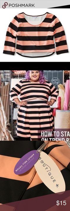 Ashley Nell Tipton Striped Crop Top Boutique + New with tags! jcpenney Tops Crop Tops