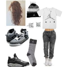 Jordan all the way. ;) by ashleyboo-12 on Polyvore featuring polyvore, fashion, style, Blue Nile and NIKE