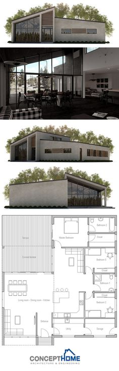 House Plans in Modern Architecture. Small Modern House Plans, Modern House Design, Design Home Plans, Casas Containers, House Blueprints, Sims House, Facade House, House Floor Plans, Future House