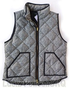 J.Crew Herringbone Excursion Vest Quilted Down Puffer Black Size XL NWT