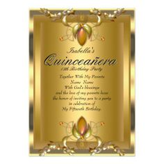 Quinceanera Gold Amber Gems 15th Birthday Party Custom Invitation