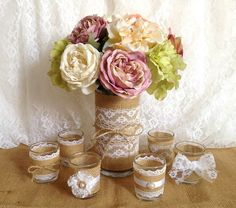 burlap and white lace covered votive tea candles and by PinKyJubb