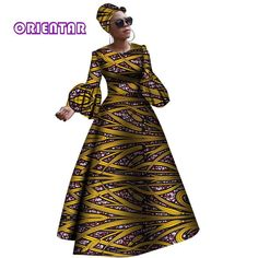 Image of 2018 African dresses for women New African dashiki rche dress for women Africa women long sleeves party dress plus size African Maxi Dresses, African Dresses For Women, African Attire, African Clothes, African Women, African Traditional Dresses, Traditional Outfits, Yellow Pencil Skirt Outfit, African Dashiki