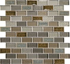 """Discount Glass Tile Store - Crystal Shores - Sapphire Lagoon 1"""" x 2"""" Brick Glass Mosaic Tile, $15.99 (http://www.discountglasstilestore.com/crystal-shores-sapphire-lagoon-1-x-2-brick-glass-mosaic-tile/)"""