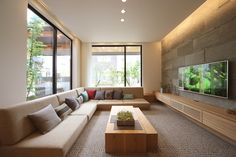 Built in long sofa - family room Home Room Design, Home Interior Design, Interior Architecture, Living Room Designs, Japanese Modern House, Japanese Living Rooms, Sunken Living Room, Home Living Room, Modern House Floor Plans