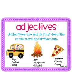 All about Adjectives!  This unit addresses several Common Core Language Arts standards from grade 1-...