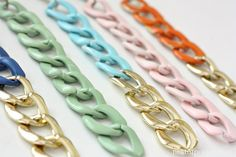 DIY colored chained bracelets