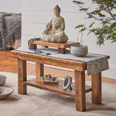 Never In Your Wildest Dreams Reclaimed Wood Meditation Altar Table Your Dreams Will Come True WhenYou Start Believing In Them… Meditation Raumdekor, Meditation Room Decor, Meditation Cushion, Yoga Room Decor, Meditations Altar, Sala Zen, Meditation Supplies, Home Yoga Room, Deco Zen
