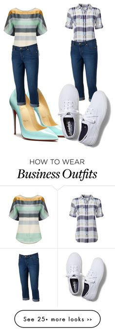 """""""Two ways to wear denim capris for work and casual wear"""" by tevalynne on Polyvore"""