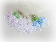Delicate lace flower earrings white light by MalinaCapricciosa, $8.00