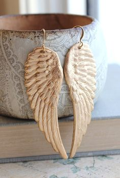 515979f940 Large Wings Earrings Big Gold Wing Christmas by apocketofposies Boucles  D oreilles D oiseaux