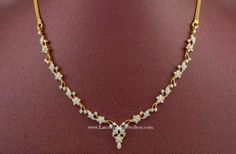 Simple and light weight latest Indian diamond necklace designs in affordable range. Made in 18 karat yellow gold with round cut brilliant diamonds, these trendy designs from lalitha Diamond Necklace Simple, Diamond Pendant, Gold Necklace, Small Necklace, Pendant Necklace, Circle Necklace, Gold Jewellery Design, Gold Jewelry, Diamond Jewelry