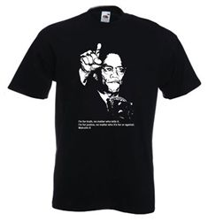 """Malcolm X tee shirt with the quote """"I'm for truth, no matter who tells it. I'm for justice, no matter who it's for or against."""""""