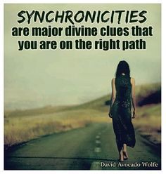 SYNCHRONICITIES are major divine clues that you are on the right path - David Avocado Wolfe.