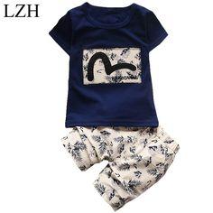 LZH 2017 Summer Baby Boys Clothing Kids Boy Clothes Tracksuit Short Sleeve T-shirt+Shorts 2pcs Outfit Suit Children Clothes Sets