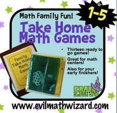 MATH NIGHT IDEA...Math Games to Take Home for Families, Math Night, or Early Math Teacher, Math Classroom, Kindergarten Math, Teaching Math, Teaching Ideas, Maths Day, Fun Math, Math Games, Family Math Night