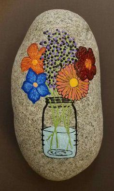 Plant Painting, Pebble Painting, Pebble Art, Stone Painting, Rock Painting, Rock Flowers, Flowers In Jars, Rock Sculpture, Rock Decor