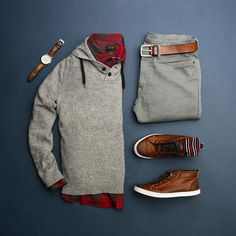 Gray's, Brown's and a pop of Red, thanks to …This color combination may rank up in the top 10 for me. 😍🔴 ––––––––––––––––––––––– Red and Grey Buffalo Check Flannel: Sweater Hoodie: Pants: Shoes: Socks: Watch & Belt: ––––––––––––––––––––––– Stylish Mens Outfits, Casual Outfits, Men Casual, Mode Outfits, Fashion Outfits, Mode Man, Style Masculin, Gentleman Style, True Gentleman