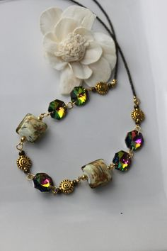 Art Glass and Crystal Beaded Necklace. $23.00, via Etsy.