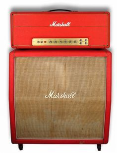 1969 Marshall, Plexi Super Bass 100w & matching Marshall 4x12 Cabinet, half-stack in factory Red Tolex