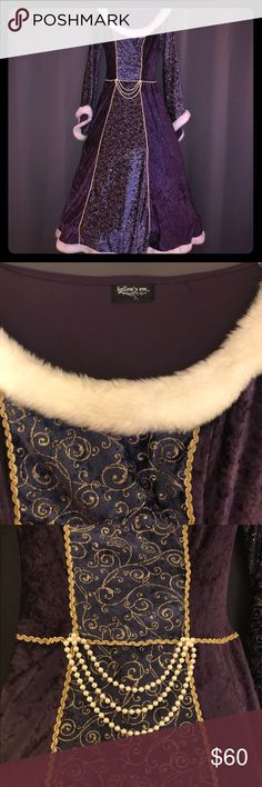 Halloween Costume! - Purple Princess Gown w/ Veil Halloween costume by Hallow's Eve! Purple & gold princess gown. Great condition, only worn twice. Dress has built in hoop skirt for full royal effect. Faux fur & pearl details. Comes with gold veil that needs an easy fix on the headband. Does not have a size tag; fits M. Other
