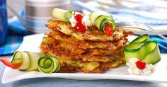 Recette de Galettes de pommes de terre et courgettes minceur Croq'Kilos. Facile et rapide à réaliser, goûteuse et diététique.