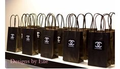 CoCo Chanel Black Gift Tag or Label logo Label 2X2 with White font Sold in Sets of (10)
