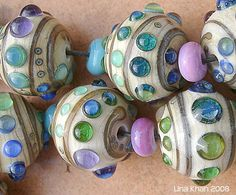 Lina Khan | Lampwork Beads: BAHIA - Chunky Silver Glass Decoration on ivory Rounds
