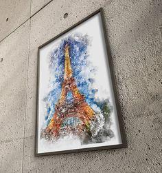 EifelTower, Paris; Print; Poster; Art; Architecture; Abstract Art; Fine Art; Wall Art; Watercolor Painting; Home Decor; Office Decor; Gift