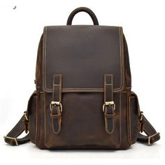 Big Capacity Men Backpack Crazy Horse Leather Laptop rucksack daypack Item Type: Backpacks Main Material: Genuine Leather Rain Cover: Yes Backpacks Type: Softback Exterior: Solid Bag Lining Material: Cotton Carrying System: CR Capac. Vintage Leather Backpack, Brown Leather Backpack, Cow Leather, Leather Backpacks, Leather Bags, Men's Backpack, Fashion Backpack, Dark Brown Leather, Sport
