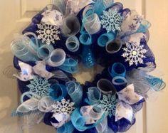 Winter Wreath/ Snowflake Wreath/ Winter Mesh by Wreaths4u2byPaula