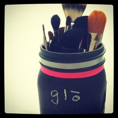 DIY Makeup Brush Holder- All you need is a mason jar, chalkboard paint, and ribbon!   #DIY #chalkboard #brushes