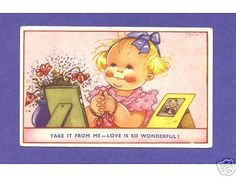 S7545 Beatrice Mallet postcard girl looking at pictures