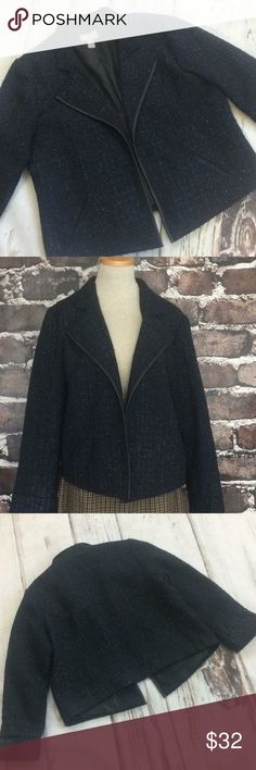 """Chico's jacket blazer midnight blue open front EUC Women's blazer coat jacket blue black plaid shiny texture Chico's   Excellent condition open front blazer in dark midnight blue with textured black plaid with a hint of shine. Chico's quality! Size 2 which is a Large or 12 according to their website. Faux leather trim. 2 pockets. Lined. Sleeves have slits and can be rolled.  Length is 22"""" in the back and 24"""" in the front Armpit to armpit is 22"""" Sleeve length underarm is 17"""" unrolled.  Blue…"""