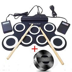 Yotron Electronic Roll Up MIDI Drum Kit with Headphone jack Foot Pedals Drumsticks and Power Supply No Built in Speakers Bluetooth Speaker for kids ** Read more reviews of the product by visiting the link on the image.Note:It is affiliate link to Amazon.
