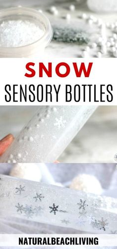 Snow Sensory Bottles for Winter Sensory Play - Natural Beach Living - You'll love making these Snow Sensory Bottles for all your winter sensory play. So simple to make - Sensory Games, Sensory Bins, Sensory Play, Fall Preschool Activities, Infant Activities, Family Activities, Outdoor Activities, Snow Theme, Winter Theme