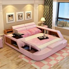 modern leather queen size storage bed frame with storage bookcase cabinets stool no mattress bedroom furniture sets is part of Tatami bed - Cute Bedroom Ideas, Cute Room Decor, Room Ideas Bedroom, Girl Bedroom Designs, Bedroom Sets, Bedroom Decor, Oak Bedroom, Teen Bedroom, Mirrored Bedroom