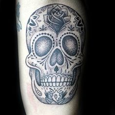 Black And Grey Sugar Skull Tattoo On Male With Rose Flower