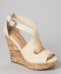 fad21d3cc7d9 Look what I found on  zulily! TOP MODA Beige Ella Wedge Sandal by TOP