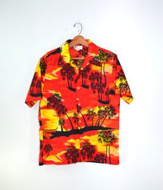 Tropical Shirt Hawaiian Shirt Camp Shirt Neon by founditinatlanta