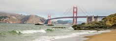 Views of the Golden Gate Bridge from Baker Beach in San Francisco, California Puente Golden Gate, Versace Gown, Baker Beach, San Francisco, Pacific Coast Highway, California Coast, Free Things To Do, Golden Gate Bridge, Pacific Northwest