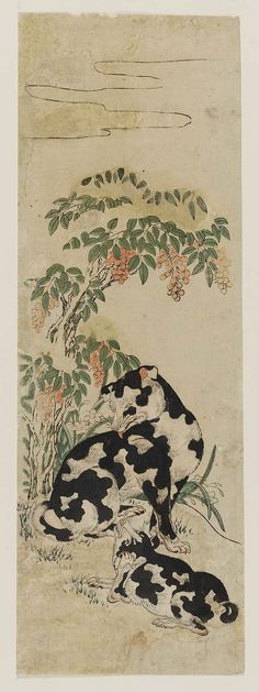 Two Dogs 二匹の犬  Japanese Edo period 1770s Artist Unknown, Japanese