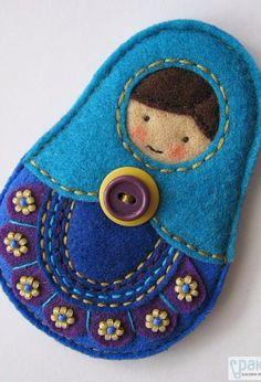 Polish Folk Art Accessories, (Matrioszka-style), Felt, Handmade in Poland
