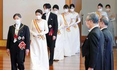 L'imperatore Naruhito e l'imperatrice Masako hanno ospitato il ricevimento di Capodanno del 2021 Royal Christmas, Imperial Palace, Aiko, Bridesmaid Dresses, Wedding Dresses, Chrysanthemum, Reception, Japanese, Crown